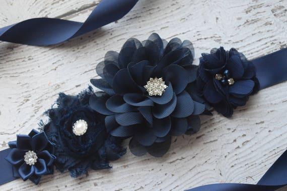 Flower Sash,  navy Sash , flower Belt, maternity sash, wedding sash, maternity sash girl, flower girl sash