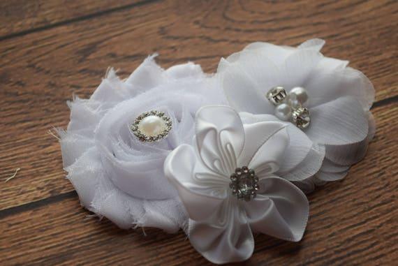 White Flower Baby clip, Newborn clip,  Infant Headband,Baby Headband, Headband Baby, Baby Headband, baptism  headband