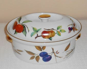 """Royal Worcester Evesham Gold 10"""" Oval Deep Covered Casserole or Baking Dish Unused"""