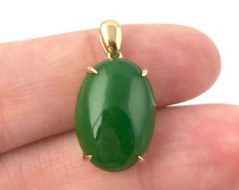 14k AA Nephrite Jade Pendant available in Rose or Yellow Gold