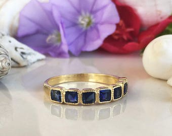 20% off-SALE!! Blue Sapphire Ring - September Ring - Half Eternity Ring - Stack Ring - Gold Ring - Dainty Ring - Bezel Ring - Gemstone Band