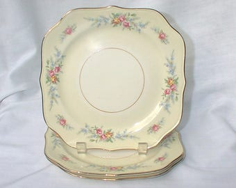"Homer Laughlin Eggshell Nautilus Ferndale Cashmere 8"" Square Salad Plates THREE"