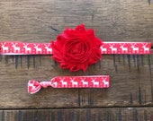 Christmas Holiday Headband, Red with White Reindeer, Christmas Hair Tie, Holiday Hair, Little Girls
