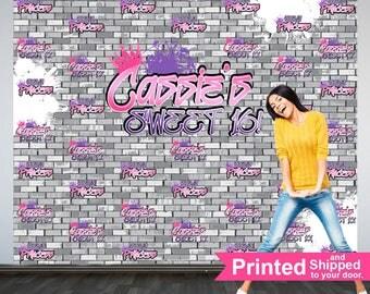 Urban Princess Personalized Photo Backdrop -Sweet 16 Photo Backdrop- Step and Repeat Photo Backdrop, Graffity Backdrop, Printed Backdrop