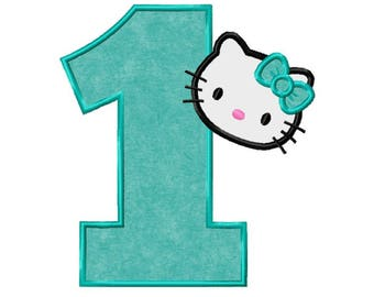 1st Birthday Kitty...Instant Download...Applique Machine Embroidery DESIGN NO. 506