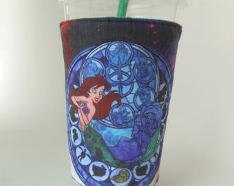 Ariel Stained Glass Drink cozy, Princess coffee sleeve