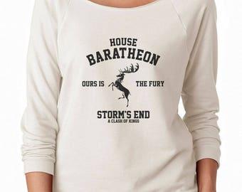 House Baratheon Shirt Ours Is The Fury Shirt Storm shirt Game of Thrones Shirt Ladies Gifts Women Off Shoulder Sweatshirt Women Sweatshirt
