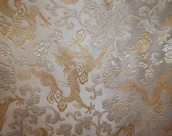 Chinese Brocade Dragons White / Gold Fabric