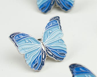 Blue Butterfly Pin / Butterfly Lapel Pin / Soft Enamel Pin / Cute Pin / Butterfly Gift / Animal Pin / Blue Butterfly Enamel Pin / Kawaii Pin