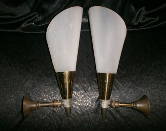 PAIR of Vintage 1950's wall lights. French, perspex, plastic, retro