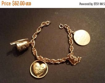 SALE Vintage Gold Filled Charm Bracelet 1960 Shriners Charms Freemason Collectible Jewelry