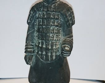 Small Stoneware Chinese Warrior, Terracotta Samurai Warrior, Oriental Man Statue