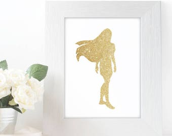 "Gold Glitter Princess Pocahontas Silhouette,  5x7"" 8x10"" incld., DIGITAL PRINTABLE File, Gold Sparkle Princess, Disney Princess Decor"