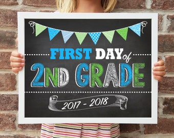 "2nd Grade, Back to School Poster, DIGITAL Printable File, FIRST Day & LAST Day includ. 4 Sizes: 8x10"", 11x14"", 16x20"", 20x30"" includ."