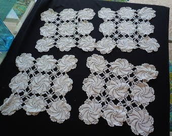 Vintage Crochet Doilies (4) , Doilys, Crafting, Dresser Scarf, Table Cover, Girls, Guest Room, Doll Making.