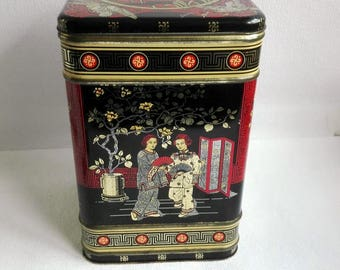 Large Vintage Chinese Tea Tin,Hinged Tea Tin, Gold Toned Inside. Bohemian Decoration, Made in England, 1970's