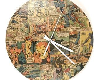 Superhero Wall Clock - Comic Wall Clock - Customized Superhero Clock - Vinyl Record Wall Clock - Geek Home Decor - Geek Birthday Gift
