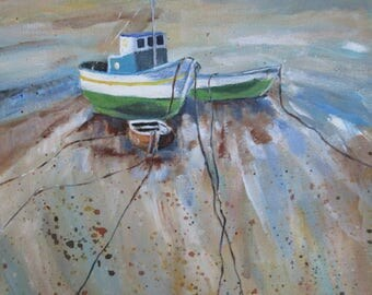 Fishing Boat Art, Boat Painting, Nautical Art, Boat Art, Original Acrylic on Canvas, Coastal Scene, Fishing Boat, Fisherman, Wall Hanging