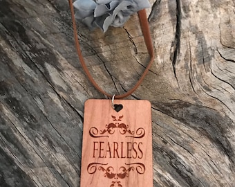 Fearless Necklace, Laser Engraved Cherry Wood, Group Gift Ideas, Group Discounts, Wedding Gifts, Laser Engraved, Bursting Barns Designs