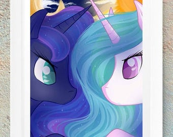 ON SALE MLP My Little Pony Fim Princess Luna & Princess Celestia Fan Art Print Gift Handmade Design