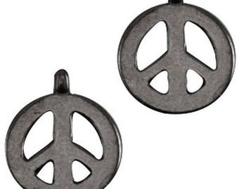 "DQ Metal Pendant ""Peace""-2 pcs-Zamak-color selectable (color: silver grey)"