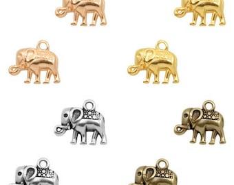 DQ metal pendant, charm elephant-1 piece-9 x 12 mm-Zamak-color selectable (colour: silver)
