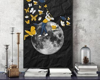 The Ghost Whisperer butterflies.. art print-collage-technology-man-poster-20x30cm-30x40cm-wall decor-illustration-romantic