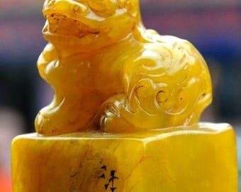 China Tianhuang Shoushan Stein Stempel Seal stamp dragon lion beast - 21st century