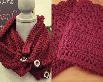 Plush Burgundy Cowl with Button Detail and Boot Cuffs Set
