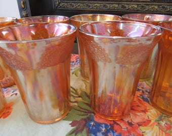 Orange Carnival Glass Small Water or Juice Glasses Etched Tops