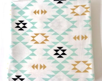 Gold Mint Black and Off White Navajo Super Soft Stretch Jersey Swaddle Receiving Infant Blanket