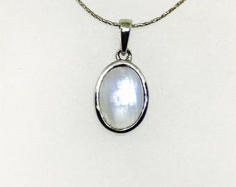 Rainbow Moonstone Pendant/ necklaces set in Sterling silver 925. Natural authentic moonstone. Length - .90 inch
