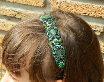 Green bronze headband Beaded headband Beaded embroidery headpiece Bead embroidered headband Women headband Hair accessories Tiara medieval