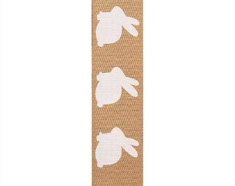 Easter bunny print ribbon by the yard, 1 inch natural ribbon with bunny silhouette, Easter hair bow ribbon, bunny rabbit craft sewing trim