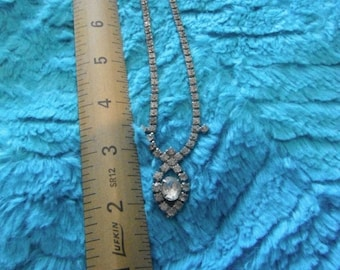 CLEARANCE Vintage Clear Round Rhinestone Necklace