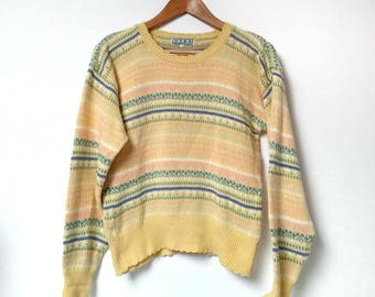 Vintage Yellow Patterned Jumper