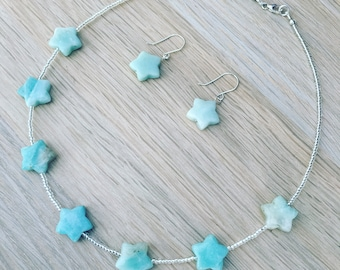 Amazonite gemstone stars necklace and earrings - sterling silver finish
