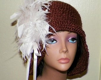 On Sale- Cloche Hat Brown Flapper Womens Downton Abby Freeform Crochet Gatsby Bucket  Top Hat 1920s Style