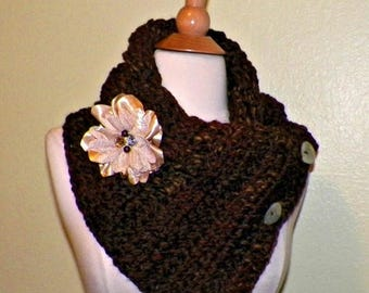 On Sale- Brown Chunky Triangle Scarf Infinity Button Cowl  Winter Neckwarmer With Flower  Brooch Freeform Crochet