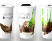 ceramic travel mug, Coffee Mug, coworker gift, gift for her,  adventure travel, unique coffee mug, travel gifts, mountain art, Rustic mug