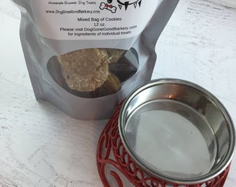 Dog Bowl with Gourmet Dog Treats ~ Raised Small Red Bowl ~ Homemade Dog Biscuits ~ All Natural Dog Snack