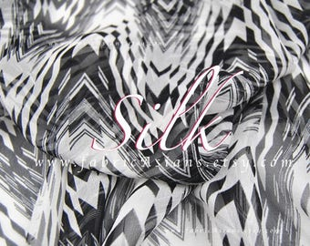 Black White Chevron georgette silk by the yard