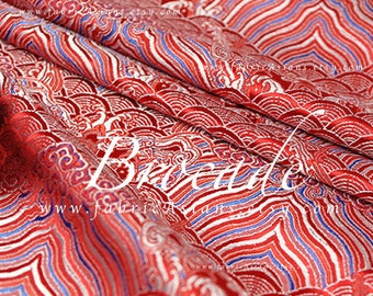 Red brocade buy oriental fabric by the yard