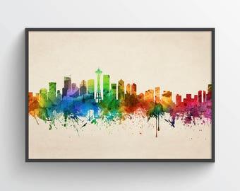 Seattle Skyline Poster, Seattle Cityscape, Seattle Print, Seattle Art, Seattle Decor, Home Decor, Gift Idea, USWASE05P