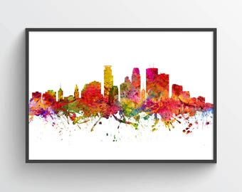 Minneapolis Poster, Minneapolis Skyline, Minneapolis Cityscape, Minneapolis Print, Minneapolis Decor, Home Decor, Gift Idea, USMNMI08P
