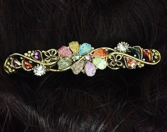 Handmade Hair Gold Tone Hair Barrette Clip Style Multicolor