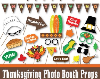 Thanksgiving Photo Booth Props and Decorations - Printable Props and Banner - Over 40 Images in Full Color and Outlines - Digital Download