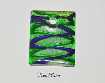 1 x dark blue, green, silver Lampwork Glass rectangular pendant