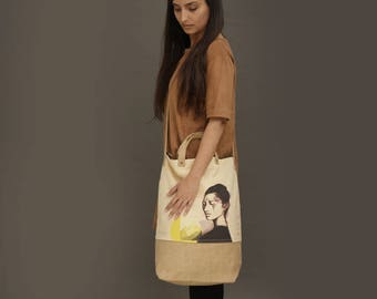 Cross body bag, jute bag, printed canvas bag, Large Travel Bag, Tote bag, Vegan Bag, Jute bag, big tote bag, large bag, canvas tote bag