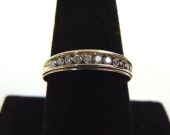 Mens Vintage Estate 14k White Gold Diamond Ring 4.3g #E3297